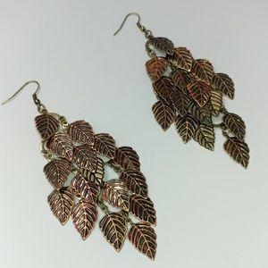 NWT TeSori Mixed Metal Leaf Drop Earrings